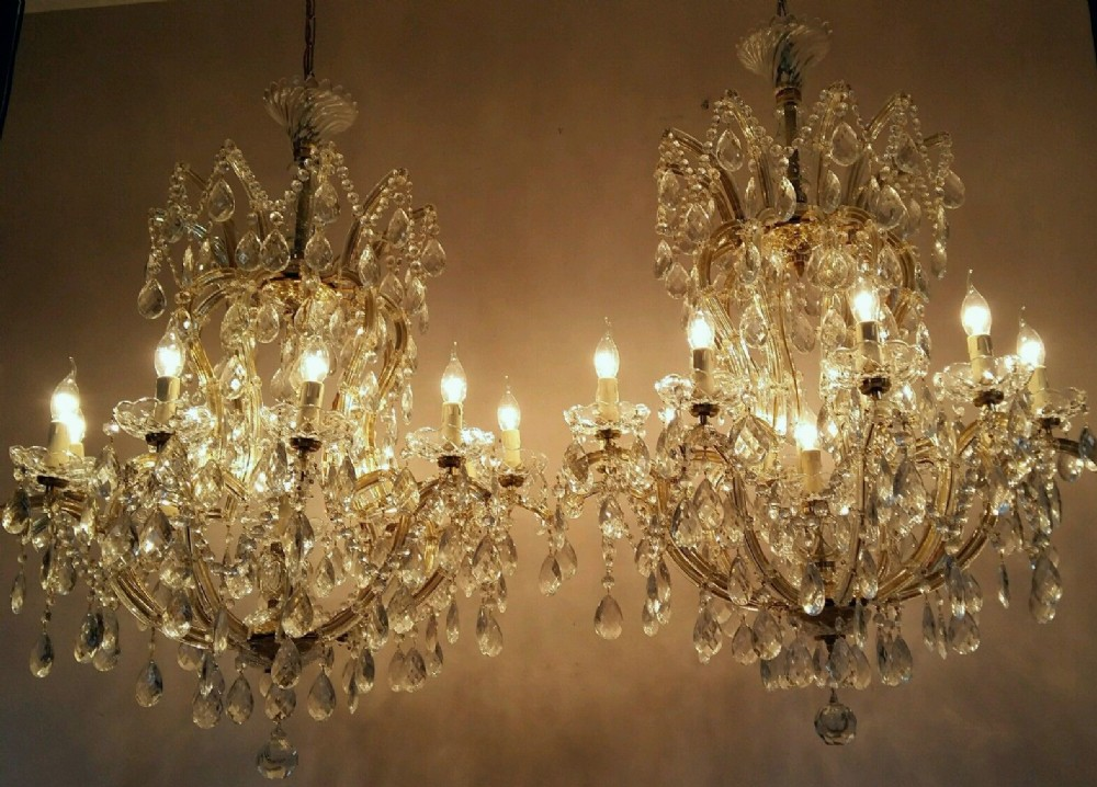Chic Very Large Chandeliers Very Large Matching Pair French Crystal Chandeliers 387793
