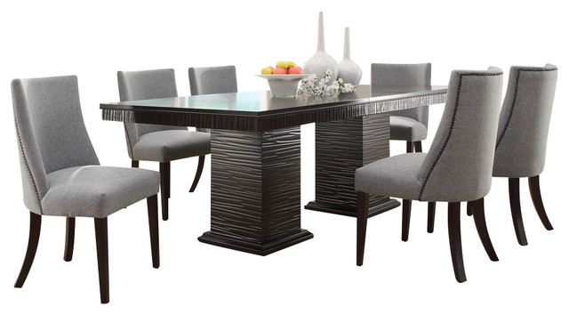 Creative of Black Dining Room Set Homelegance Chicago 7 Piece Pedestal Dining Room Set In Deep