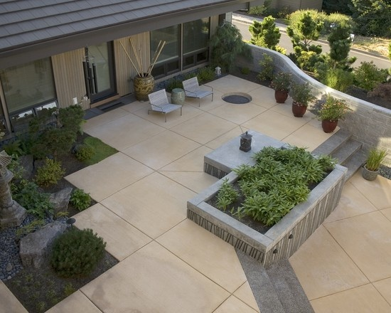 Creative of Contemporary Patio Ideas Contemporary Spaces Concrete Poured Stepping Stones Patio Design