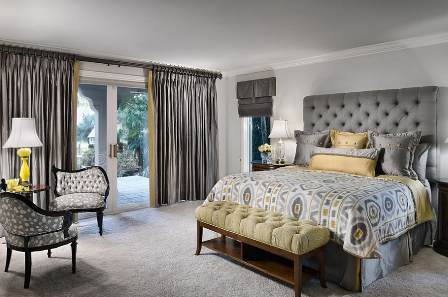 Creative of Grey Luxury Bedroom Bedroom Design Tufted Headboard And Silken Drapes Give The Room