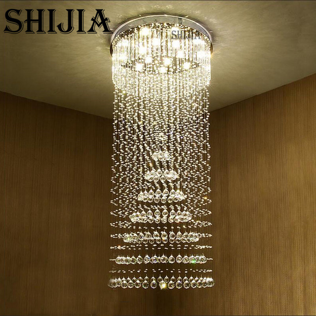 Creative of Long Crystal Chandelier Shijia Crystal Chandelier Villa Lob Lounge Dining Room Lamp