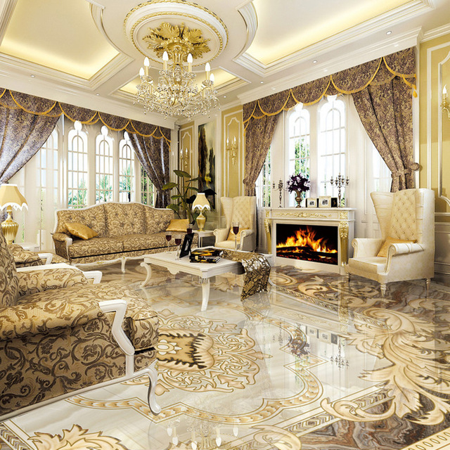 Creative of Luxury Tiles For Living Room European Style 3d Floor Tiles Mural Marble Wallpaper Living Room