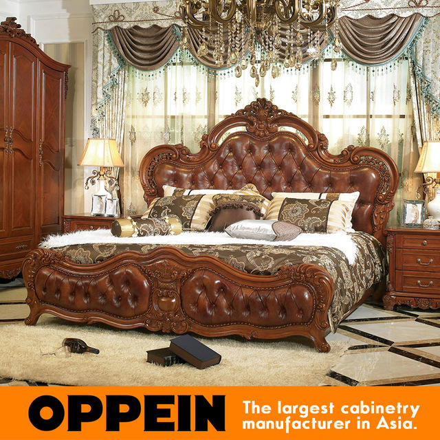 Creative of Luxury Wooden Beds Luxury And Traditional Solid Wood Bed With Brown Leather Bedroom