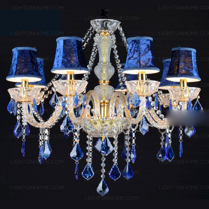 Elegant Blue Crystal Chandelier Light Gorgeous Fabric Shade 8 Light Blue Crystal Chandelier