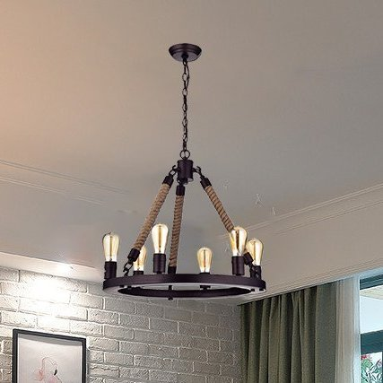 Elegant Chandelier Style Light Claxy Rustic Rope 6 Light Candle Style Chandelier Reviews Wayfair