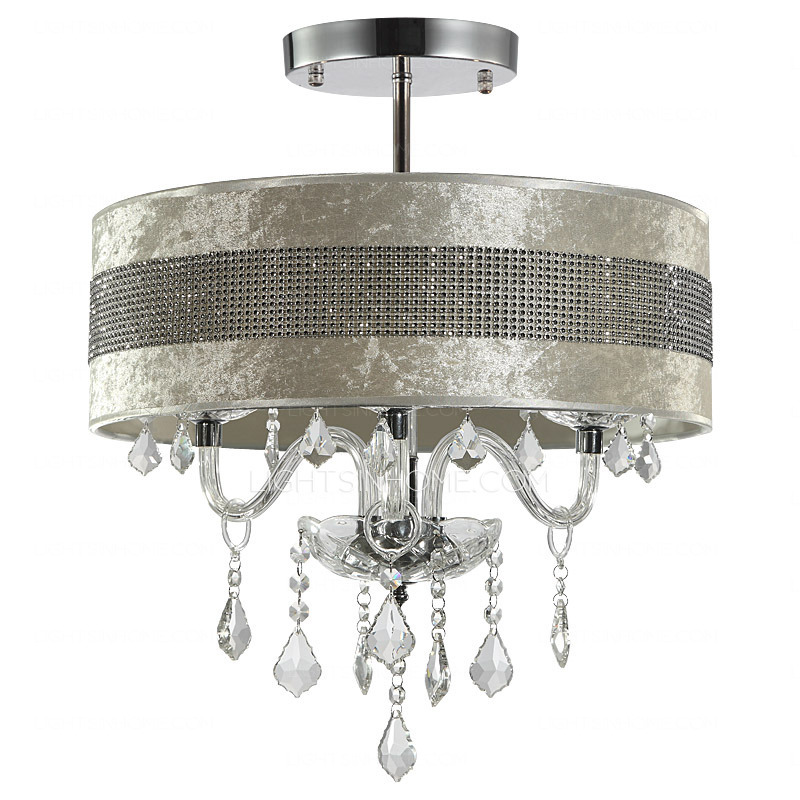 Elegant Contemporary Crystal Ceiling Lights Modern Crystal Ceiling Lights With Semi Flush Fabric Shade