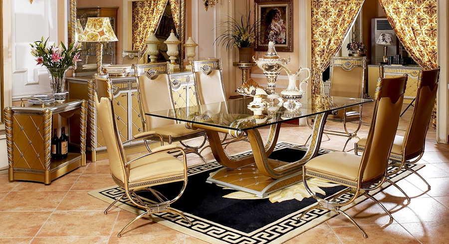 Elegant High Quality Dining Room Furniture High Quality Import Glass Table Top Luxury New Classical Style