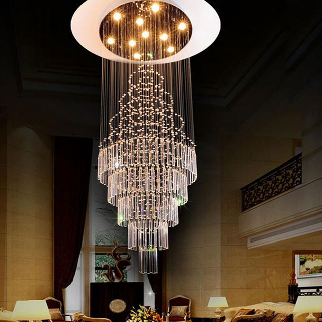 Elegant Long Crystal Chandelier 2017 New Luxury Staircase Long Crystal Chandelier Art Deco