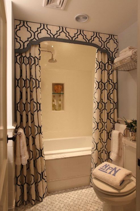 Elegant Luxury Bathroom Curtains Liz Caan Interiors Chic Small Bathroom Design With White Blue