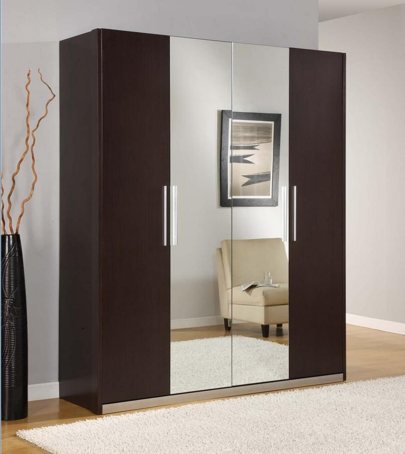 Elegant Modern Bedroom Cabinet Closet Storage Modern Coffee Wardrobe Design With Mirror And