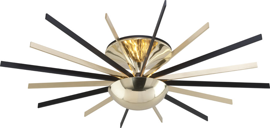 Elegant Modern Black Light Fixtures Troy C4254 Atomic Modern Polished Brass Matte Black Led Ceiling