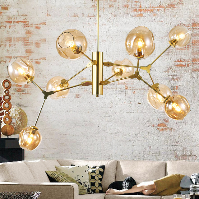 Elegant Modern Gold Chandelier 9 Heads Modern Glass Chandeliers Goldblack Metal Chandelier