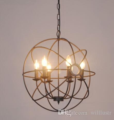 Elegant Orb Light Chandelier Discount Vintage Industry Lighting Pendant Lamp Foucaults Iron Orb
