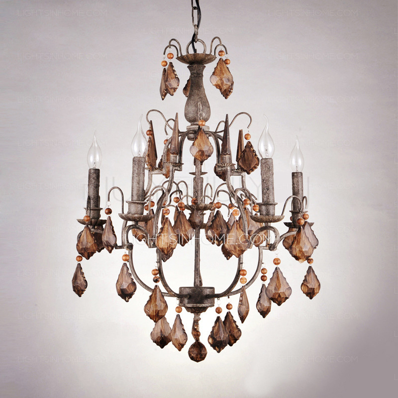 Elegant Rustic Crystal Chandelier Rustic 6 Light Antique Crystal Chandeliers For Sale Wrought Iron