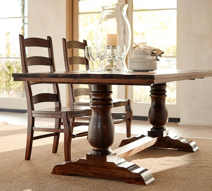 Elegant Wood Dining Table Bowry Reclaimed Wood Fixed Dining Table Pottery Barn
