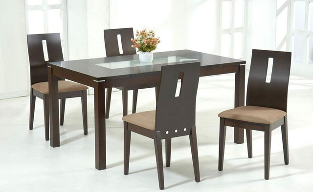 Elegant Wooden Glass Dining Table Designs Luisa Rectangular Glass Dining Table With 4 Side Chairs Wooden