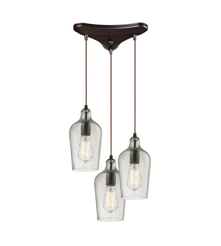Fabulous 3 Light Chandelier Elk 103313clr Hammered Glass 3 Light 10 Inch Oil Rubbed Bronze