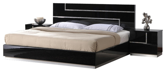 Fabulous Black Lacquer Bedroom Furniture Jm Lucca Black Lacquer With Cystal Accents Queen Size Bedroom Set