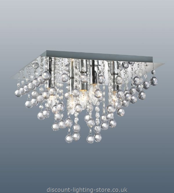 Fabulous Funky Ceiling Lights Palazzo Polished Chrome Square Light With Acrylic Droplets 5