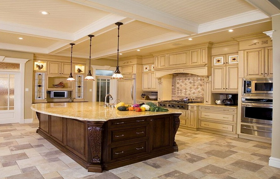 Fabulous Luxury Kitchen Floor Tiles Kitchens Luxury Kitchen Floor Plans Large White Coffered Ceiling