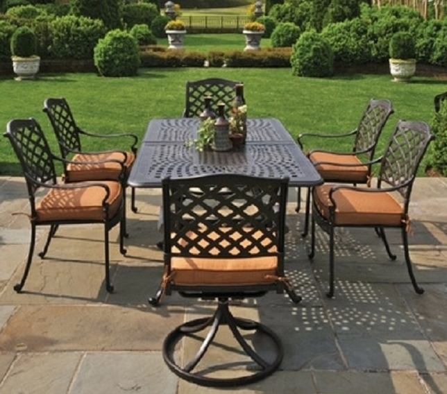 Fabulous Luxury Outdoor Dining Chairs Berkshire Hanamint 6 Person Luxury Cast Aluminum Patio