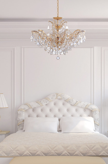 Fabulous White Bedroom Chandelier Maria Theresa Gold Crystal Chandelier In White Bedroom