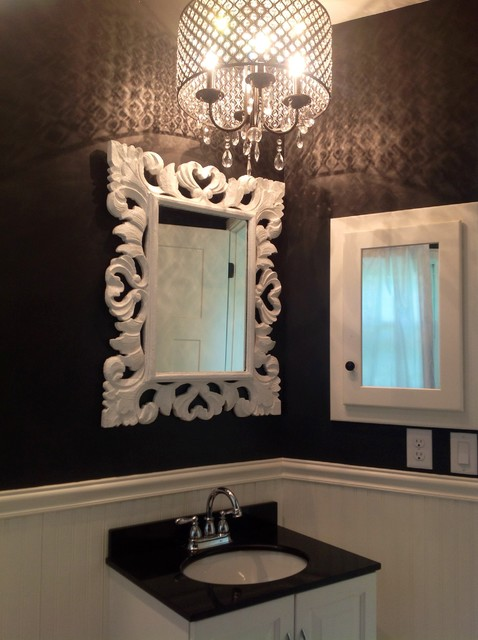 Gorgeous Contemporary Bathroom Chandeliers Black And White Bathroom With Crystal Chandelier Contemporary