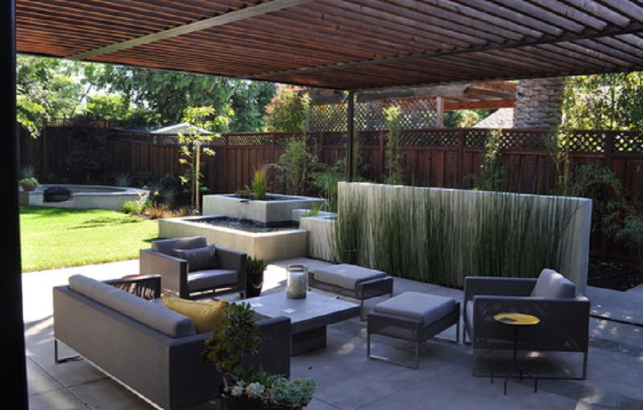 Gorgeous Modern Patio Design Modern Patio Concrete With Redwood And Steel Arbor How To Clean