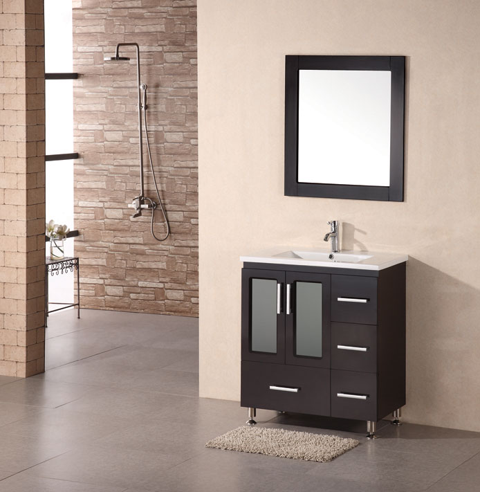 Gorgeous Modern Vanity Cabinets Adorna 32 Inch Single Drop In Sink Bathroom Vanity Dark Chestnut Color
