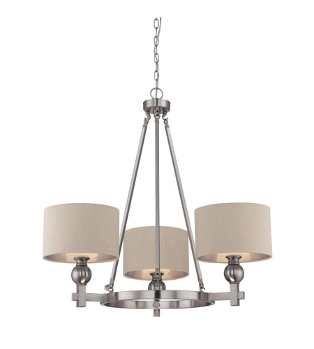 Great 3 Light Chandelier Quoizel Ckmo5003bn Metro 3 Light 34 Inch Brushed Nickel Chandelier