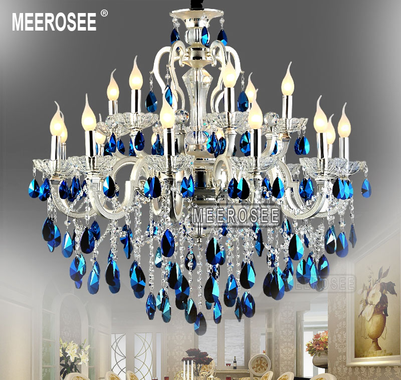 Great Blue Crystal Chandelier Light Meerosee Modern Large 18 Arms Silver Crystal Chandelier Light Blue