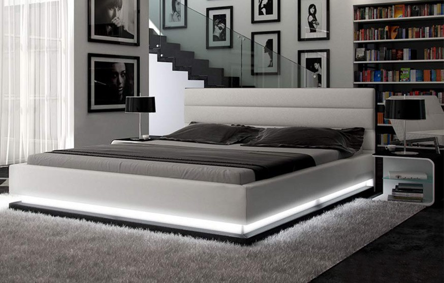 Great Contemporary Platform Bedroom Sets Contemporary White Platform Bed W Lights