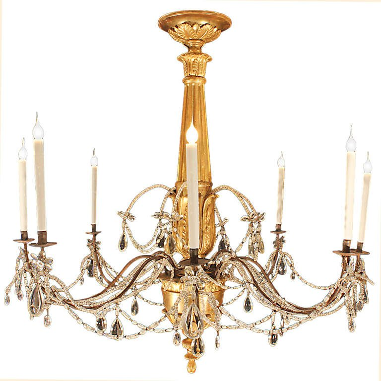 Great Italian Crystal Chandelier Italian 18th Century Giltwood And Crystal Chandelier For Sale At