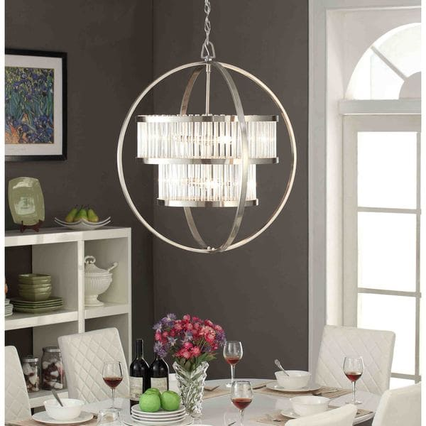 Great Orb Light Chandelier Brushed Nickel Crystal Orb 6 Light Chandelier Free Shipping