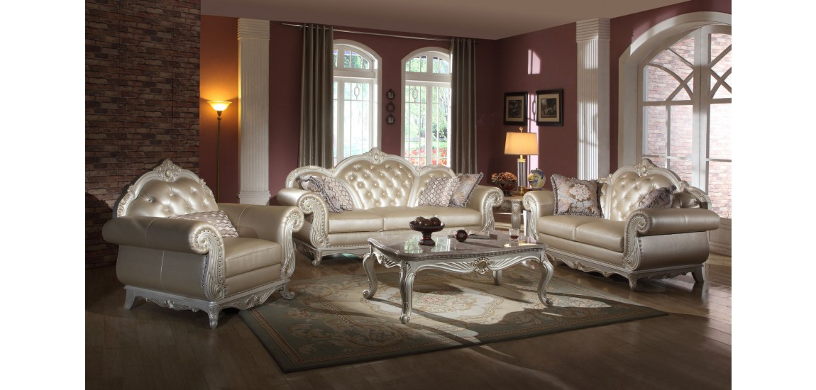 Great Traditional Living Room Sets Pearl Color Leather Traditional Living  Room Set 652 ...