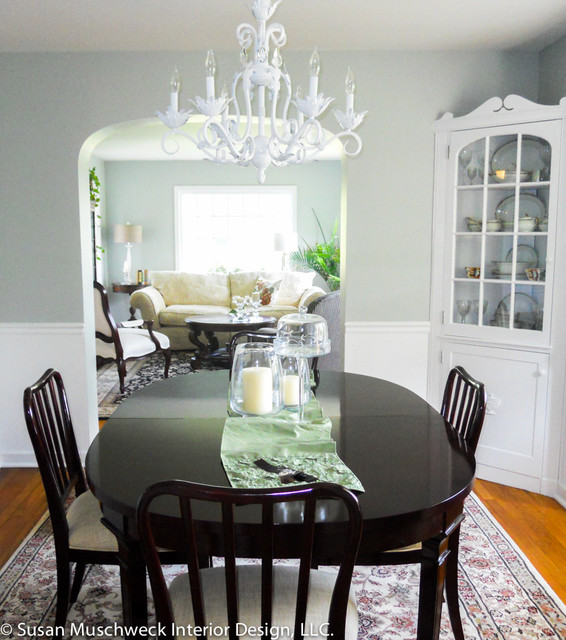Great White Dining Room Chandelier Traditional Dining Room With White Chandelier And Dark Table