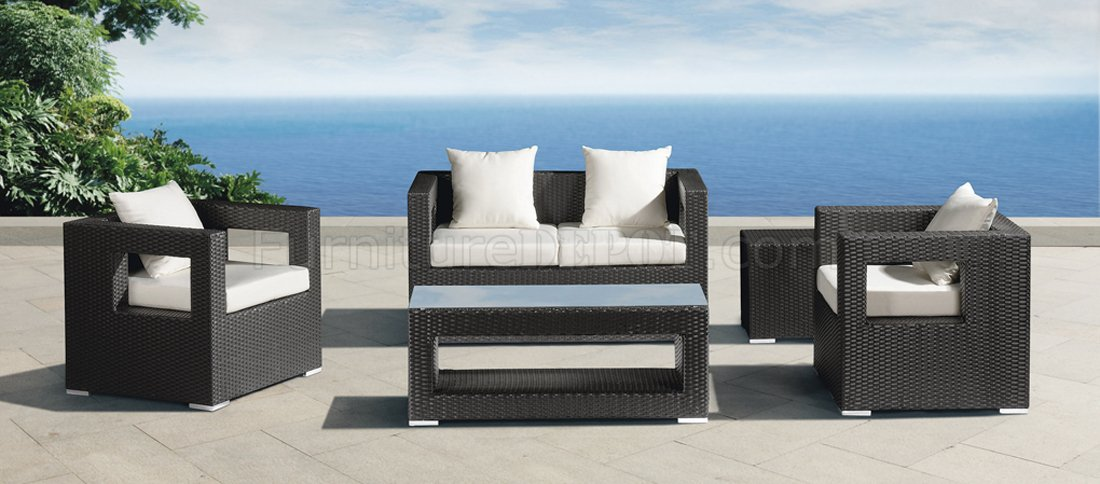 Great White Modern Patio Furniture Black White Modern Outdoor 5pc Patio Chairs Set Wcoffee Table