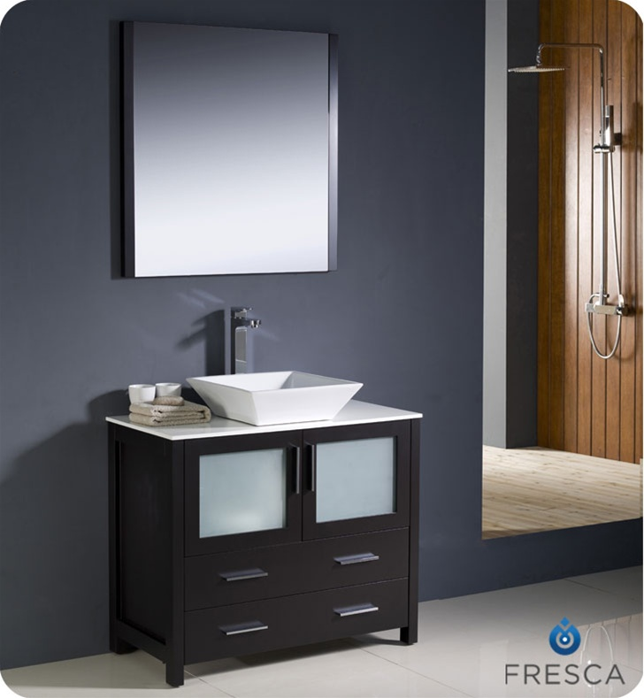 Impressive Bathroom Sink Cabinets Modern Fresca Torino 36 Espresso Modern Bathroom Vanity With Vessel Sink
