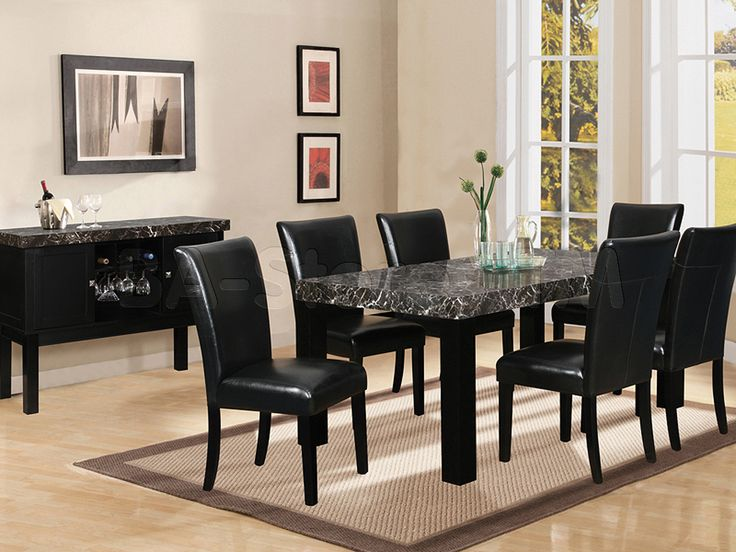 Impressive Black Dining Room Set 7 Piece Black Marble Dining Table Black Dining Room Set Table