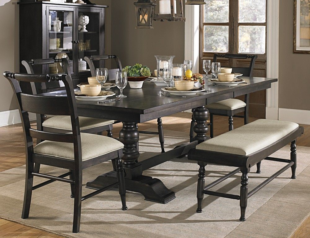 Impressive Black Dining Room Set Fascinating Black Dining Room Set With Bench 78 About Remodel