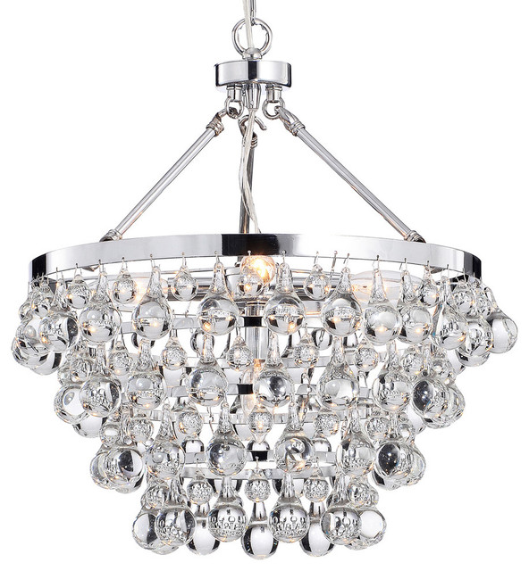 Impressive Contemporary Chandelier Lighting Crystal Glass 5 Light Luxury Chandelier Chrome Contemporary