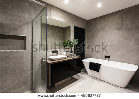 Impressive Fancy Modern Bathroom Modern Bathroom Shower Area Bath Tub Stock Photo 450627787