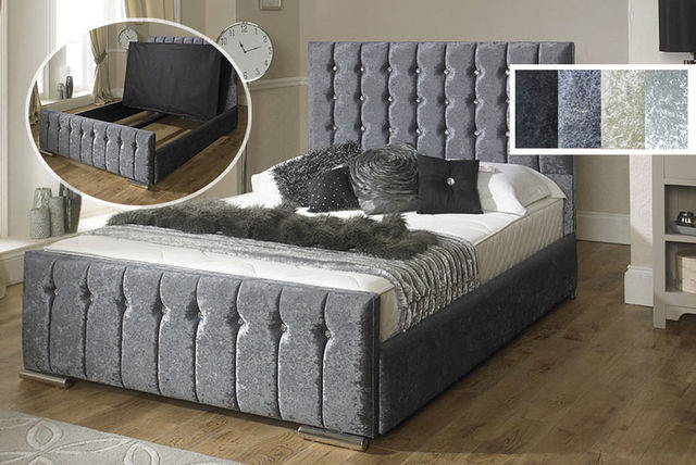 Impressive Luxury Low Beds Luxury Hilton Fabric Velvet Storage Bed 4 Colours