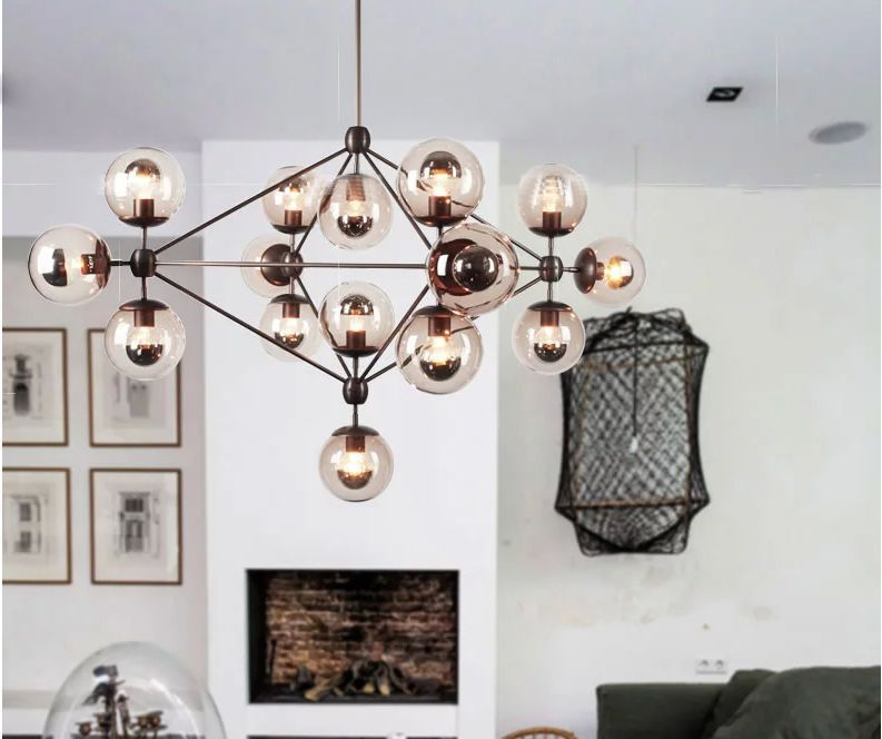 Impressive Modern Ball Chandelier Modern Ball Pendant Lamp Hanging Villa Project Matel Bubble Glass