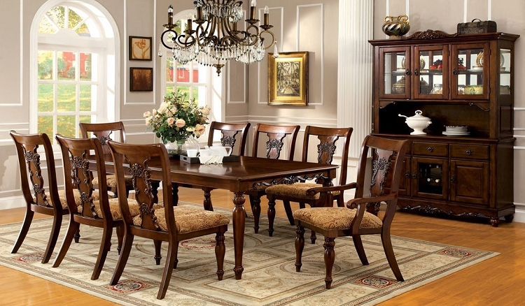 Impressive Solid Wood Formal Dining Room Sets Seymour 9pc Formal Dining Turned Legs Dark Oak Finish Solid Wood