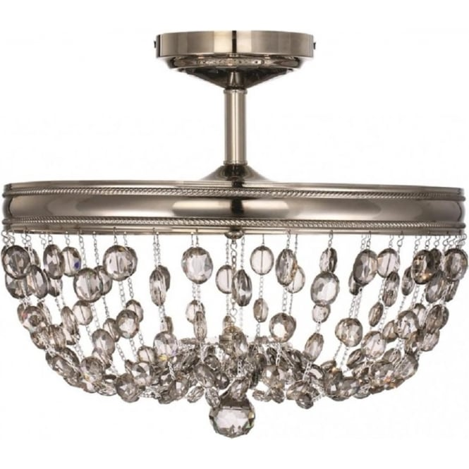 Incredible Chandelier Style Light Malia Semi Flush Circular Ceiling Light With Smoked Crystal Droplets