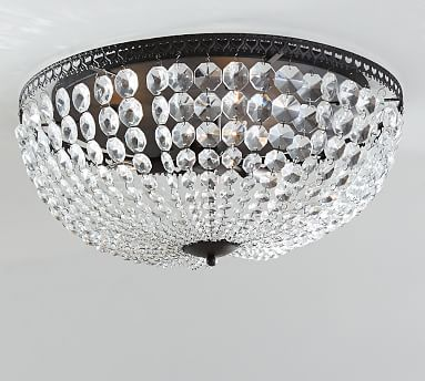 Incredible Crystal Ceiling Light Fixtures Mia Faceted Crystal Oversized Flushmount Pottery Barn