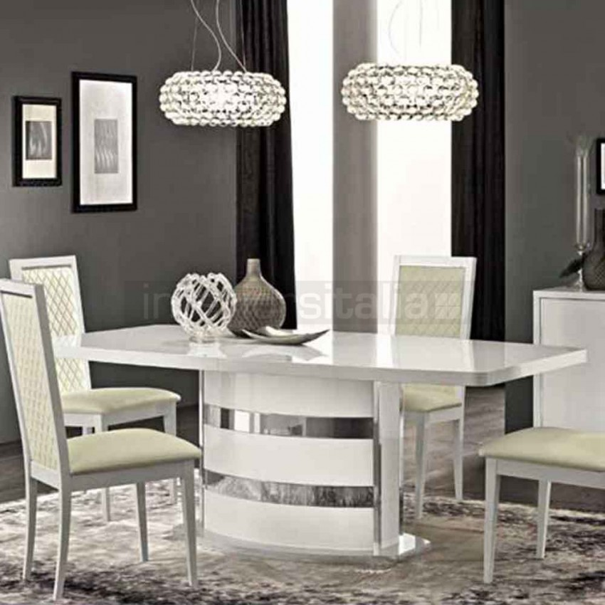 Incredible Italian White Dining Table High Gloss Dining Set Roma Clearance Sale