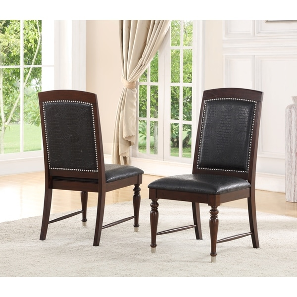 Incredible Luxury Leather Dining Chairs Abson Delano Luxury Leather Dining Chair Set Of 2 Free