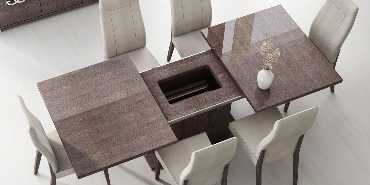 Incredible Modern Dining Room Tables Italian Made In Italy Extendable Wood Microfiber Seats